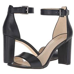 Nine West Nora Block Heel Sandal in Black Leather